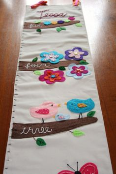 Springtime Friends - Fabric Growth Chart - Personalized Custom Made to Order with Hand Embroidered Details