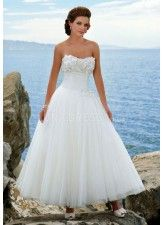 Luxurious Tulle Ball Gown Strapless With Appliques Wedding Gown