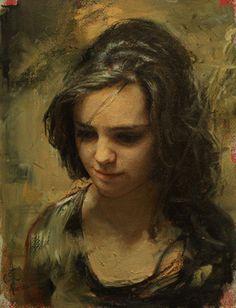 Artist: Cesar Santos (b. oil on linen {contemporary figurative art… Woman Painting, Figure Painting, Painting & Drawing, Modern Artists, Contemporary Artists, Cesar Santos, Blood Art, Oil Portrait, Painting Portraits