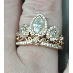 Rapunzel Rose Gold Tiara Princess Ring Tangled Crown Crystals Rose... ($30) ❤ liked on Polyvore featuring jewelry, rings, accessories, red gold ring, crown ring, pink gold rings, pink gold jewelry and rose gold jewellery