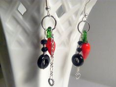 Earrings Glass Chili Peppers and Onyx by RosysJewelsandYarns, $23.00