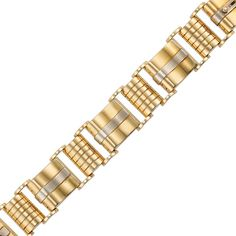 Retro Two-Color Gold Bracelet   18 kt., composed of polished gold rectangular links of modified scroll motif, centering white gold bands, joined by rectangular bombe ribbed gold links, signed I.H., circa 1940, approximately 61.5 dwts. Length 7 5/8 inches.