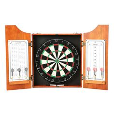 Trademark Games TGT Beveled Wood Dart Cabinet with Pro Style Board and Darts