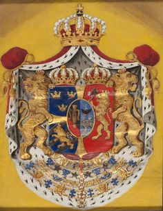 Marinmotiv-Svensk-Norska Riksvapnet - Sjöhistoriska museet - O Royal Crowns, Coat Of Arms, Old Photos, Lions, Norway, Vikings, Sweden, Scandinavian, Medieval