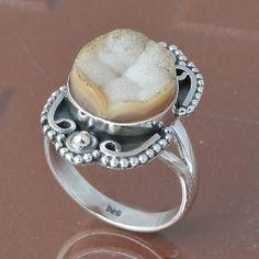 925 SOLID STERLING SILVER DESERT DRUZY RING 5.05g DJR6740 #Handmade #Ring