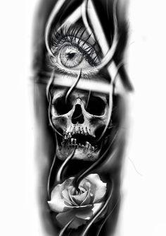 Evil Skull Tattoo, Skull Rose Tattoos, Evil Tattoos, Black Ink Tattoos, Skull Tattoo Design, Tattoo Design Drawings, Tattoo Sleeve Designs, Black And Grey Tattoos, Sleeve Tattoos
