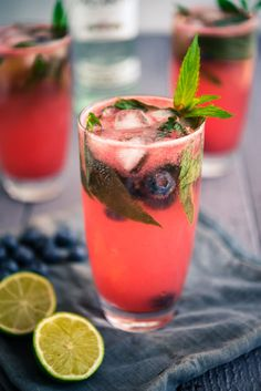Watermelon and Blueberry Mojitos
