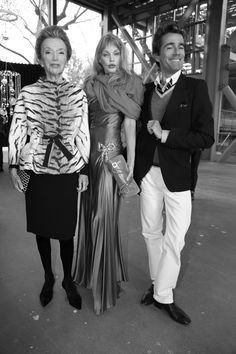 Lee Radziwill, Arielle Dombasle and Vincent Darre - Paris, April 2012