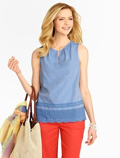 Talbots - Eyelet-Trimmed Shell | Blouses and Shirts |