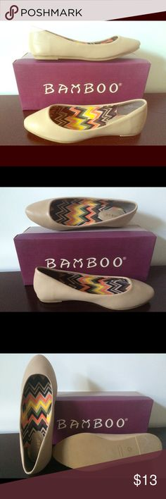 Bamboo Flats, Jump series New In Box : Up for sale is this pair of pointed toe casual ballet flats, by Bamboo. Faux leather, neutral nude color. Insole features chevron graphic print. These comfy flats can easily be paired w/ office wear or jeans & tee. Originally purchased online for $21. Kept in storage, never worn! Bamboo Shoes Flats & Loafers
