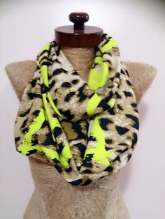 Leopard print scarf infinity neon infinity scarf by AtlasScarf