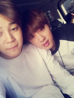 Jin looks like Jimin's girlfriend. haha