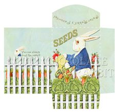 Vintage Seed Packet Digital Download Printable Collage Sheet Peter Rabbit Image Scrapbook