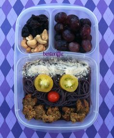 Black rice pasta with Field Grain sausage in @Kelly Lester / EasyLunchboxes by bentoriffic plant based vegan lunches