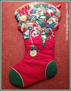 Rare Nutex Extra Large Toy Themed Quilted Christmas Stocking with Bell Quilted Christmas Stockings, Christmas Themes, Holiday Decor, Fabric Panels, White Fabrics, Before Christmas, Toys, Red Colour, Vintage