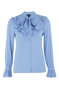 Womens Jacquard Spot Ruffle Shirt