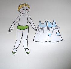 boneca de papel para vestir frente e verso