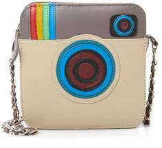Colorful panels give this petite Mua Mua leather bag the look of a camera.