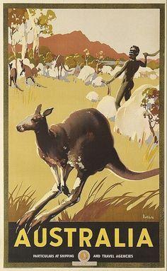 Australian vintage travel postere featuring Aboriginals and kangaroos (artwork by James Northfield) Posters Australia, Australia Tourism, Sydney Australia, Retro Poster, Vintage Travel Posters, Australia Kangaroo, Australian Vintage, Tourism Poster, Travel And Tourism