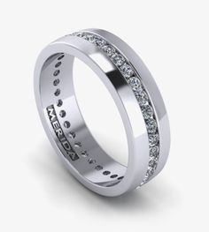 Men's Wedding Band in white gold with round diamonds in channel set