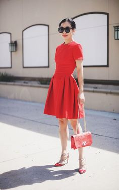 Red: Alexander McQueen Dress and Valentino Rockstud Shoes (Hallie Daily) Valentino Rockstud Shoes, Red Valentino Shoes, Modest Outfits, Dress Outfits, Fashion Outfits, Red Shoes Outfit, Alexander Mcqueen Dresses, Romantic Outfit, Look Chic
