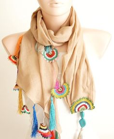 Beige, Camel Cotton with Hand Made Turkish OYA Spri lovely crochet detail… Lace Scarf, Scarf Wrap, Kurti Sleeves Design, Spring Scarves, Sleeve Designs, Crochet Accessories, Blue Beads, Crochet Clothes, Womens Scarves
