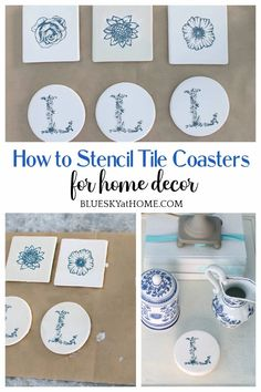How to Stencil Tile Coasters for Home Decor ~ Bluesky at Home Craft Projects For Adults, Easy Craft Projects, Craft Ideas, Project Ideas, Diy Ideas, Decor Ideas, Holiday Crafts, Fun Crafts, Diy And Crafts
