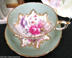 Paragon tea cup and saucer floral rose sage green pattern teacup wide mouth free usa shipping