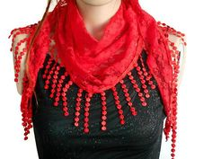 red Lace Scarf, Summer lace scarf, Floral Scarf, Fringed Scarf, Fashion Scarf, Hair headband, Women Accessories, Headband scarf, lacy scarf   Red lace scarf  It is ideal for daily life, sports, party, dance, hiking, exercise, yoga.  Multipurpose.  Easy to use.  Bandana, hair band,