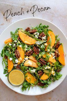 Peach Salad Recipe, Arugula Salad Recipes, Tasty Vegetarian Recipes, Healthy Salad Recipes, Clean Recipes, Salads For Dinner, Summer Salads, Healthy Cooking, Healthy Eating