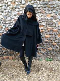Avoca Wool and Cashmere Black Cape One Size