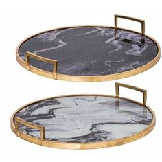 The A&B Home Decorative Tray Set brings a stunning look to your interior space. Designed with a black and white marble-like surface accented with a weathered gold finish, trays are perfect for serving guests or as table centerpieces. Black And White Marble, Black Gold, Gold Bed, Marble Tray, Small Tray, Round Tray, Tray Decor, Interiores Design, Dining Room Table