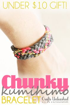 Looking for great birthday or holiday gift you can give a good friend or teenager for $10 in supplies? This Chunky Paracord Kumihimo Bracelet totally fits the bill!