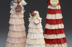 How to make Vintage Crepe Paper Christmas Topiaries