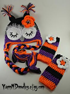 Crochet Halloween Sleepy Owl Earflap Beanie Hat & Leggings - Etsy $54.99