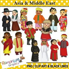 Children of the World: Asia & Middle East Traditional, Historical World Costumes, Outfi... from RamonaM Graphics on TeachersNotebook.com