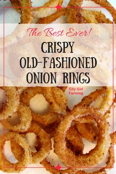 How to Make (Amazing) Onion Rings! - CITY GIRL FARMING - - Do you love onion rings? If you're tired of the terrible tasting pre-made ones, make these simple, old-fashioned onion rings that are crispy and AMAZING! You'll never settle for less again! Homemade Onion Rings, Baked Onion Rings, Crispy Fried Onion Rings Recipe, Easy Onion Rings Recipe, Diy Onion Rings, Best Onion Ring Recipe, Gluten Free Onion Rings, Air Fryer Recipes Breakfast, Air Fryer Recipes Easy