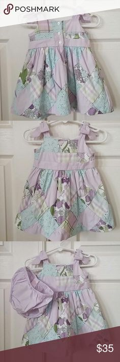 Janie and Jack dress Gorgeous Janie and Jack dress. Soft lavender and aqua colors. Bows on the shoulders. Lined, diaper cover included. A100% cotton. Size 3-6mths. Worn once! Excellent condition, just a bit wrinkled from storage. Janie and Jack Dresses