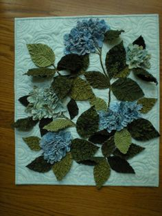 Textured hydrangea quilt made with texture magic