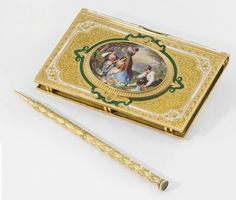 Charles Oudin. A very fine, rare and attractive 18K gold and enamel note book with concealed watch and pen, the enamel miniatures signed by Prochet  Signed Chs Oudin, her de la Marine, Paris, No. 3498 and 18'668, case no. 288, circa 1860