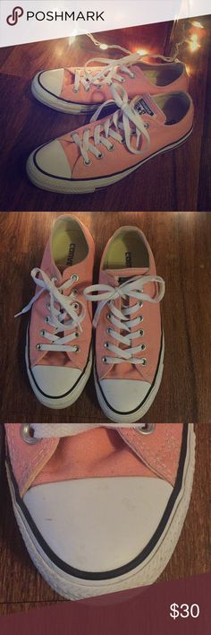 Pink Converse size 8 I am selling my light pink Converse shoes . They are a Size 8 . They are in great condition , only worn a handful of times . I hate getting rid of them but they are too loose on me , I had to downsize to a smaller size . There is a small scuff on the left shoe I included a picture . Smoke free home ! Converse Shoes Sneakers