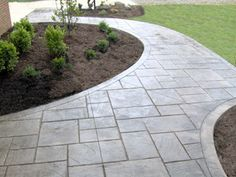 Patterning texturing or embossing concrete are processes that gives you stamped concrete. The finished products can resemble different kinds of things like brick slate flagstone stone tile wo Slate Walkway, Stamped Concrete Driveway, Outdoor Walkway, Concrete Driveways, Backyard Patio, Backyard Landscaping, Walkways, Pavers Over Concrete, Front Walkway Landscaping