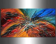 Encuentra tu favorito pintura abstracta de muchos diseños disponibles en mi tienda. http://www.etsy.com/shop/largeartwork =========================================================  Título: Flor de invierno (hecho por encargo)  TAMAÑO: 48 de ancho, 24 alto, 1.5 profundo (Galería abrigo lona estirada listo para colgar)  ====================================================  ~ ~ COLOR: azul, negro blanco acrílico  ~ ~ MEDIO: pintura acrílica profesional. Las pinturas en mis páginas de listado…
