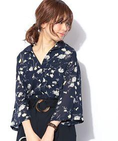 natural couture(ナチュラルクチュール)の「花柄開襟シャツ(シャツ/ブラウス)」 詳細画像