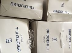 Giveaway bags - classic boutique style paper bags, custom printed with spot uv logo for a glossy logo effect