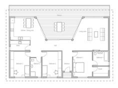 Small house plan with large covered terrace and large windows toward terrace, three bedrooms.