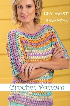 the colors of this crochet sweater are so pretty and the name is fitting indeed - The Key West sweater, sure does remind me of spring/summer in the keys, very tropical. pattern works up easy #crochetsweaterpattern #crochetsweater #summersweater #crochetsummertop #crochetpatterns #crochetsweaterpatterns #womenscrochetsweaters #affiliate