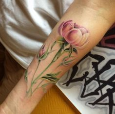Amazing peony piece on forearm by Svetlana Liubchenko