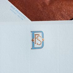 Robin's Egg Blue Empire Card with White Border and Monogram in Dauphine Blue and Copper, Envelope lined with Corresponding Tissue. Stationery Paper, Stationery Design, Wedding Stationery, Wedding Invitations, Monogram Stationary, Monogrammed Stationery, Business Card Design, Creative Business, Business Cards