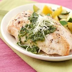 Pesto Chicken Breasts with Summer Squash. Quick and easy enough for busy weeknights- elegant enough for entertaining.